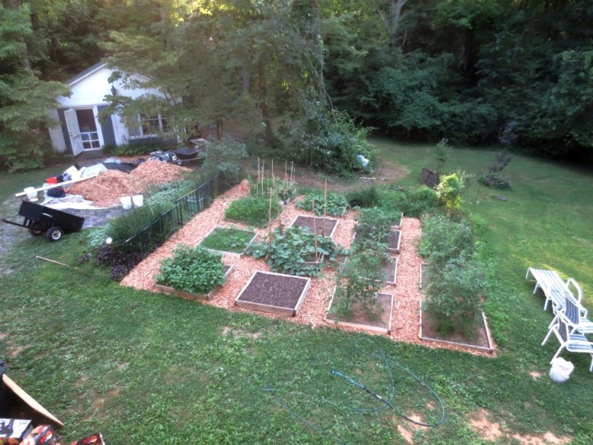 I'd like to locate the patio in the present location of part of the vegetable garden. I think Charlie will veto.