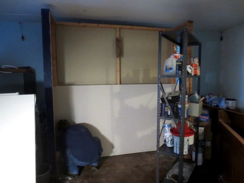 "The floating wall was shimmed with 2"" by 4"" scraps, then dry-walled."