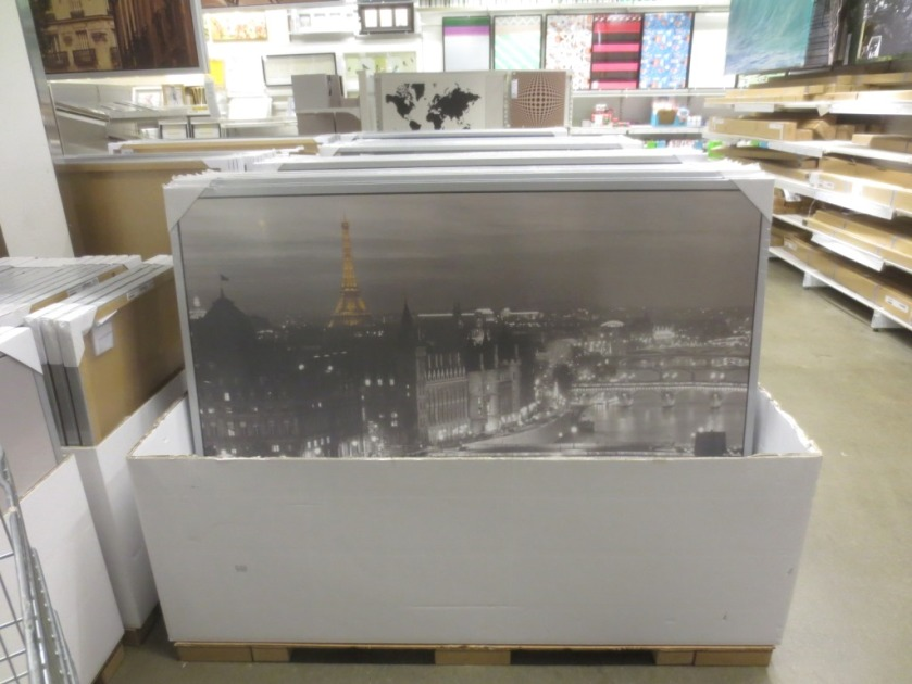 The large photo of Paris is about $60.