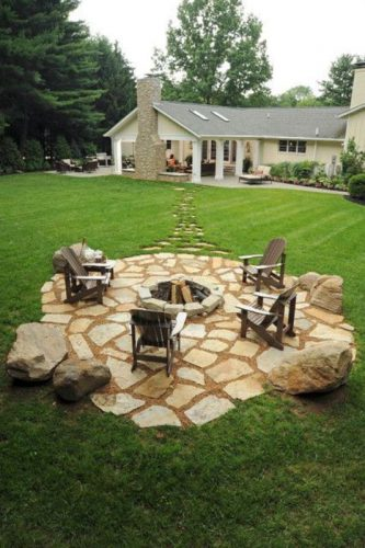We're inspired by this stone patio with fire pit.