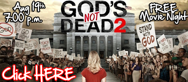 Last night 6 of us visited a church (not ours) to watch God's Not Dead 2.