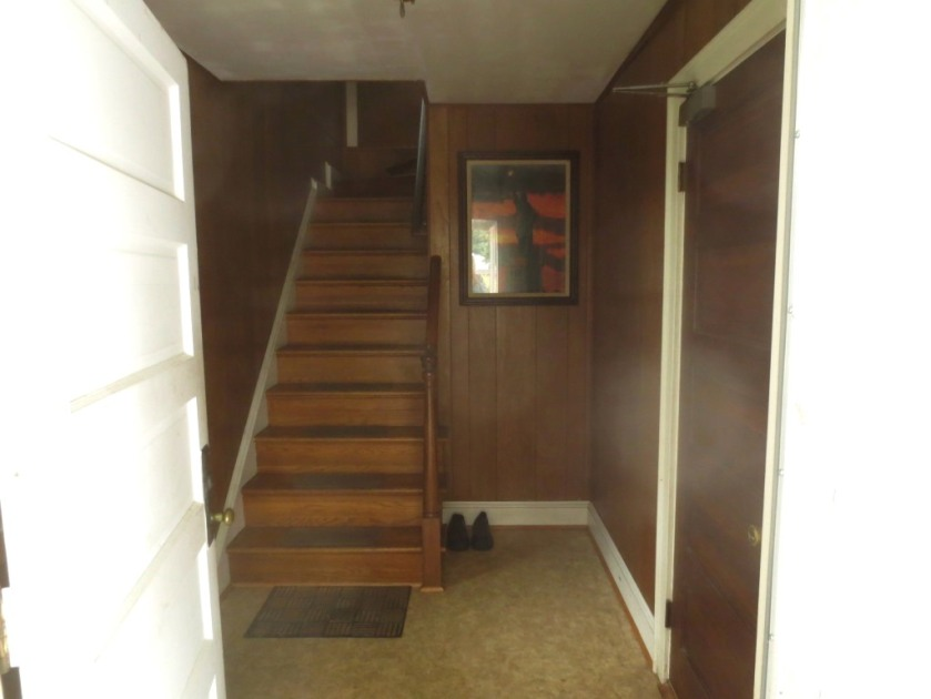 The entry was very dark with wood paneling on walls and ceiling.