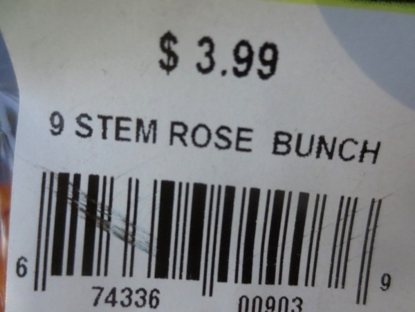 9 roses are just under $4.