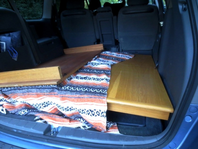 The table easily fit in the vehicle.