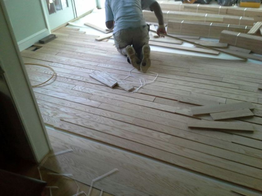 With the threshold finished the rest of the floor was a matter of laying and attaching the boards.