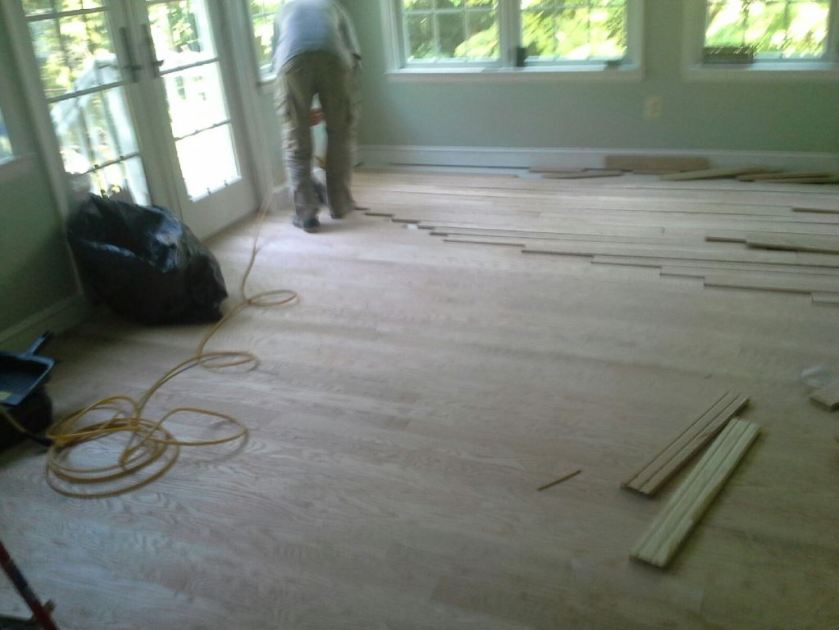 Conservatory floor during the installation.