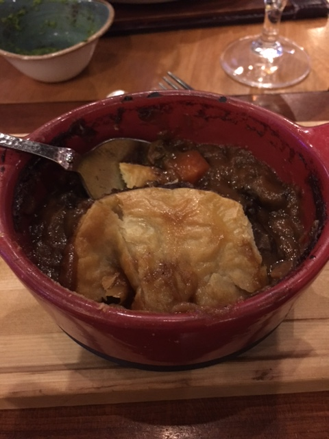 The small pot pie was very filling and extremely flavorful.