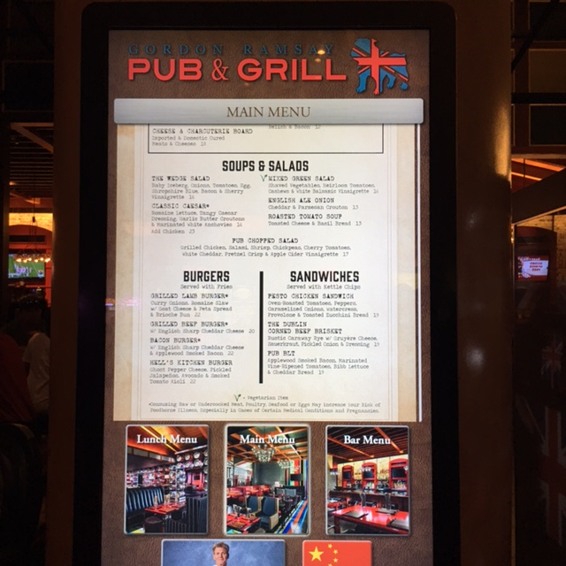 The menu was pricey but this is Las Vegas and the food was good.