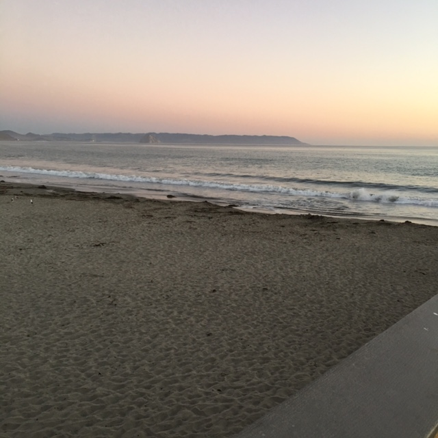 Sunset at the beach in Cayugas, California.