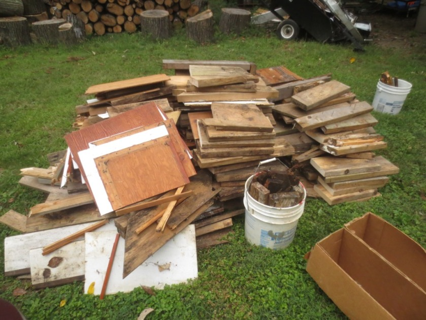 This pile of wood is being thrown away.