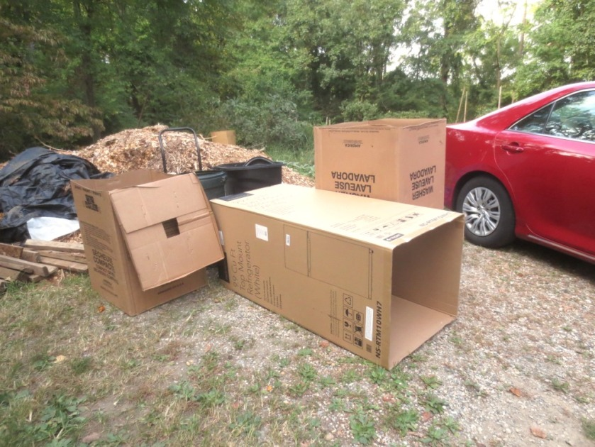 These cardboard appliance boxes will be recycled under our chip paths.