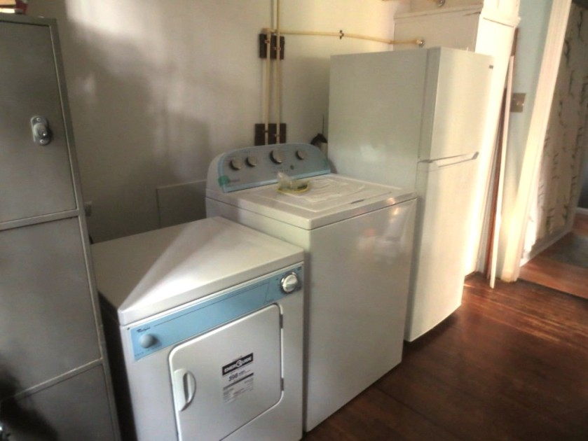 Dryer, washer, refrigerator.