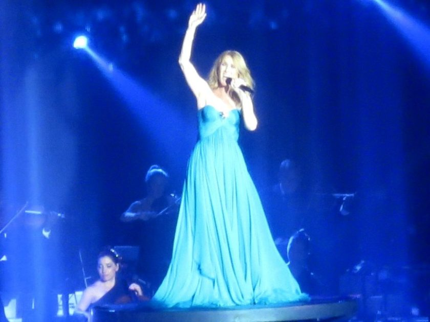 Celine was standing on a disc that raised her about 15 feet off the stage and then it began to rain all around her.