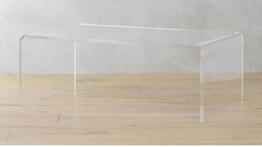 Lucite coffee table at CB2.
