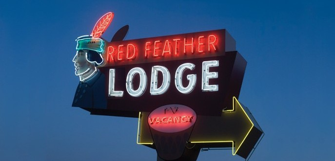 The sign at Red Feather Lodge in Tusayan.