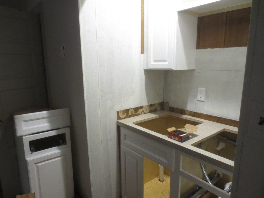 The countertop was mostly cut-out for the sink and stove.