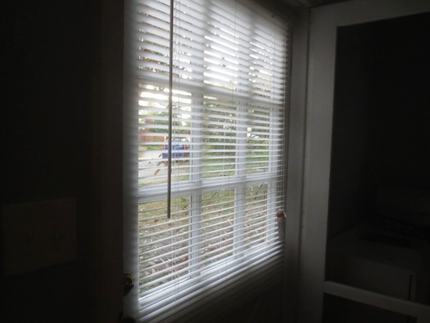The blinds are secured to the door at the top and bottom.