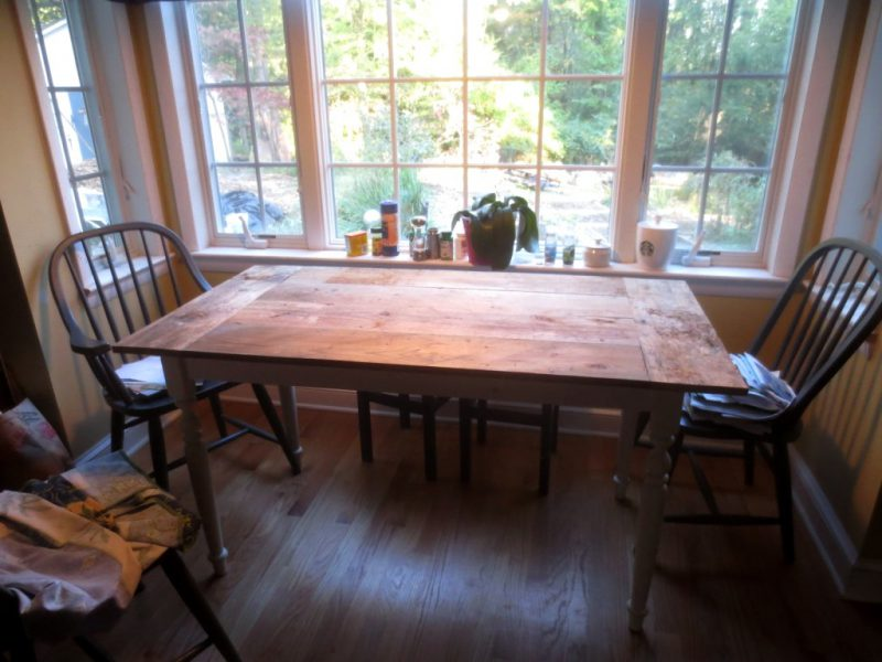Our newly built kitchen table..