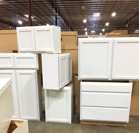I had my choice of these white cabinets.
