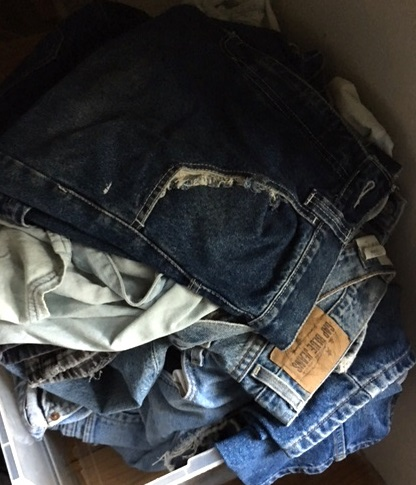 The jeans are washed and ready to be trimmed for our special shoe making project.