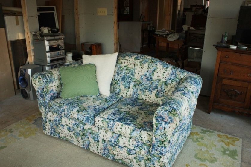 I'll replace the flowered slipcovers on the loveseats.