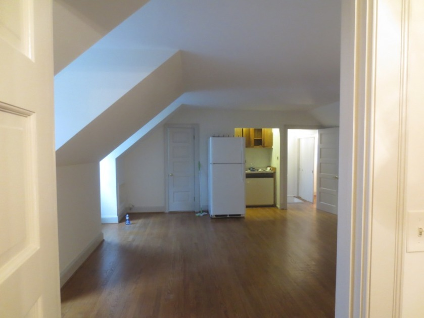 The whole apartment was painted white including the dark paneling.