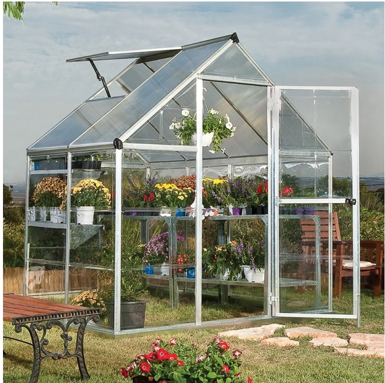 The smallest greenhouse is 6' across the front by 4' deep.