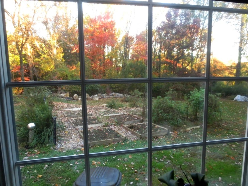 The kitchen bump-out window overlooks the vegetable garden and the backyard.