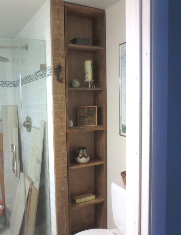 We also made shelves in the conservatory bathroom.