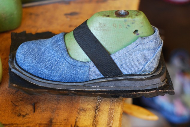 "We'll be making size ""Toddler 10"" shoes from old jeans appropriate for boys or girls."