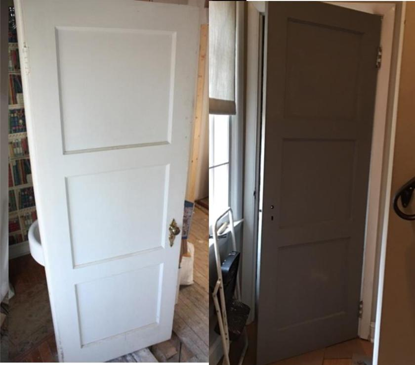 Before and after -- powder room door