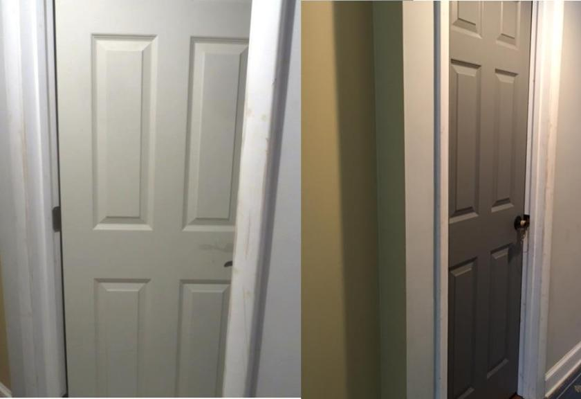 Basement door before and after