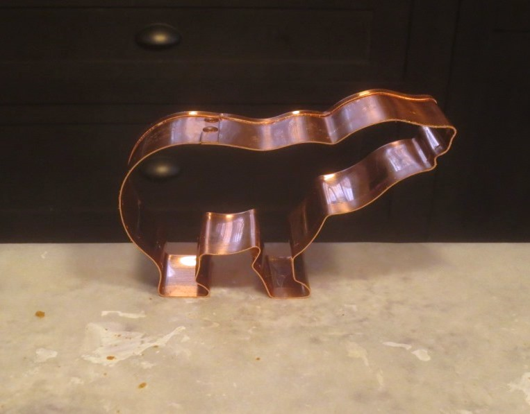 Small polar bear cookie cutter is 4.75 by 2.5 inches.