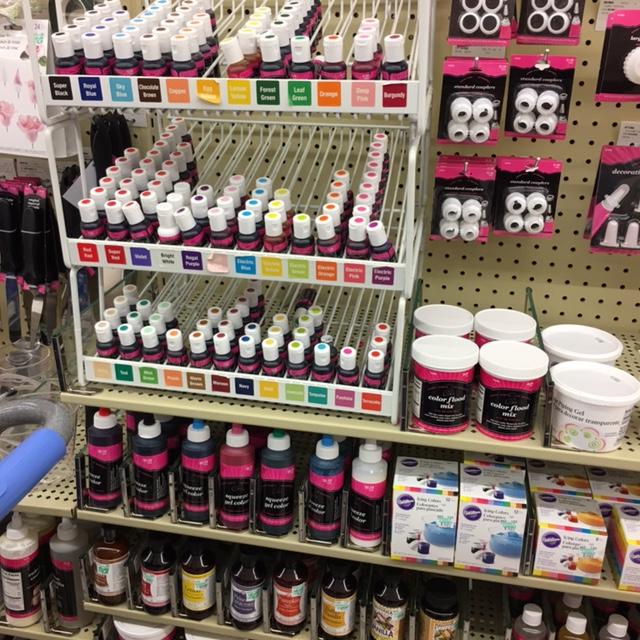 A display of gel food coloring.