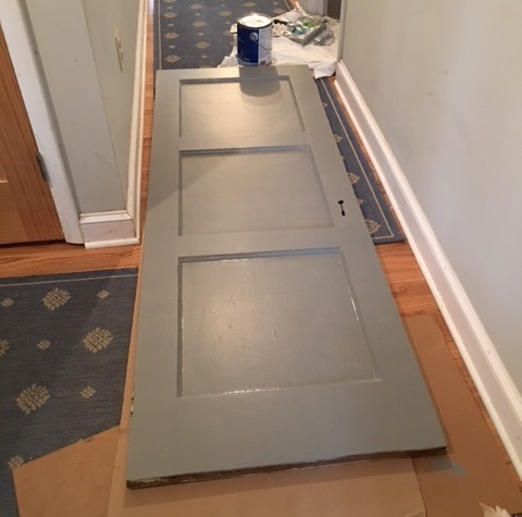 The powder room door blocked the mudroom hall all day while I painted 2 coats on both sides.