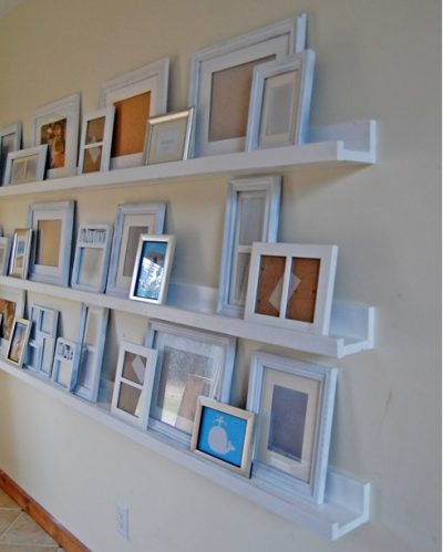 Picture ledges are narrower than traditional shelves but hold a lot.