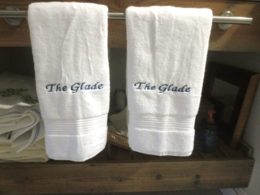 My sister gifted me with a fabulous set of embroidered white towels.