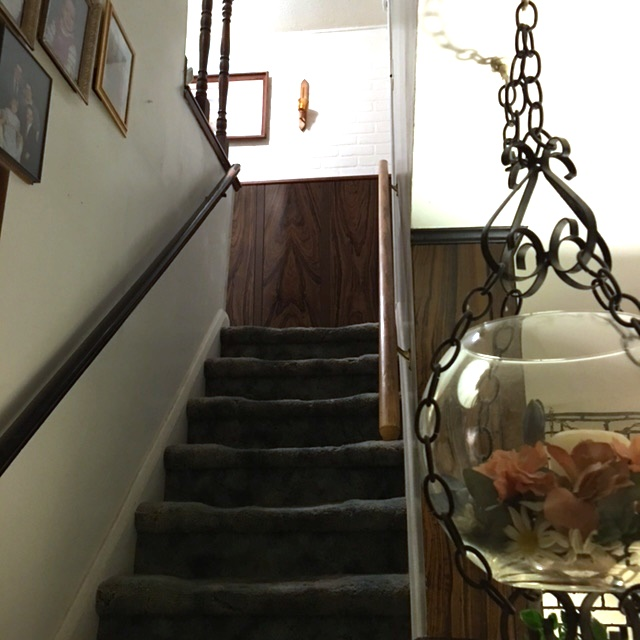 The stairs to the second floor -- BEFORE.