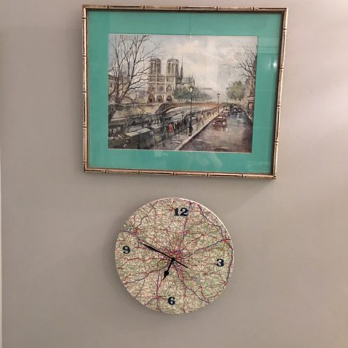 Notre Dame print and map of France clock.