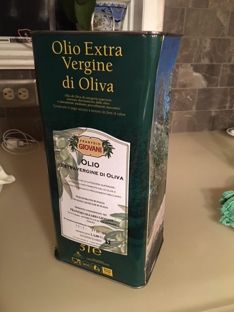 5 liters of olive oil shipped fresh from Italy.