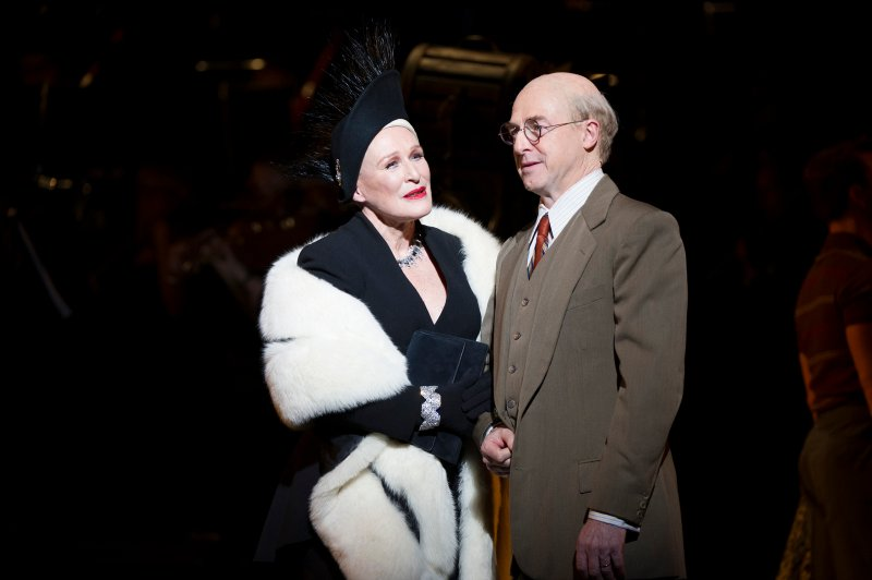 Glenn Close as Norma Desmond and Julian Forsyth as Cecil B. DeMille.