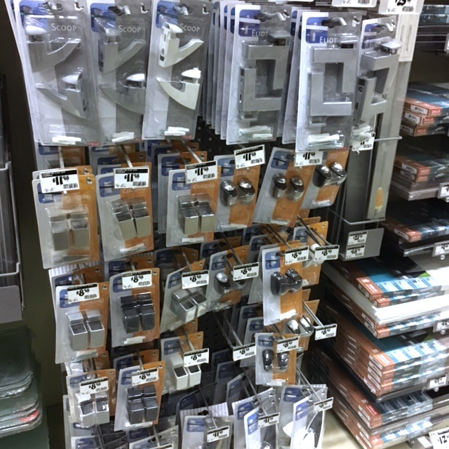 Home Depot has a large selection of glass shelf brackets in the storage aisle.