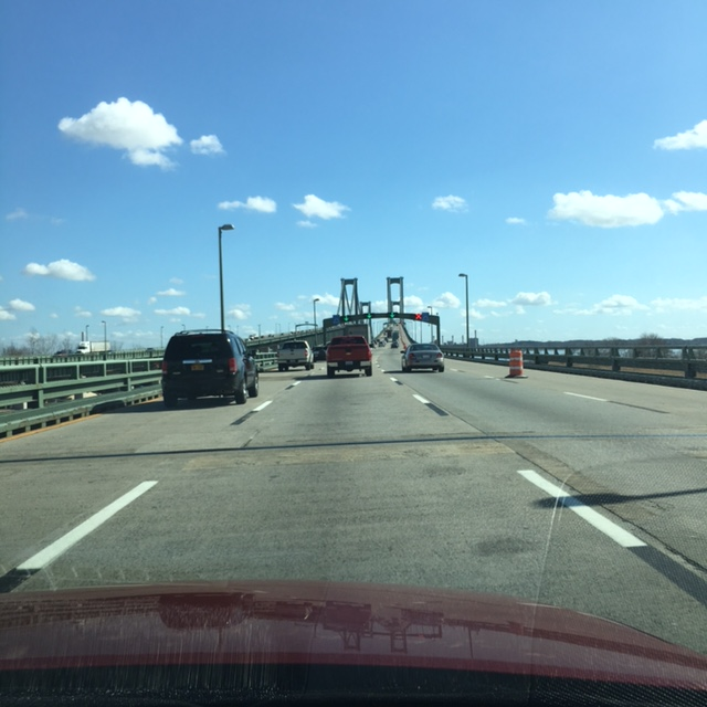 Heading over the bridge at the northern end of the New Jersey Turnpike.