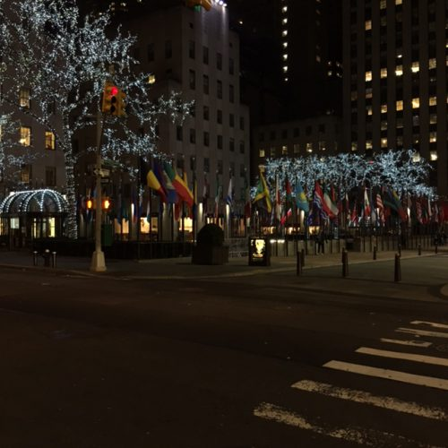 We strolled back to the hotel at 1:30 a.m. east on 50th Street passing Rockefeller Center on the way.