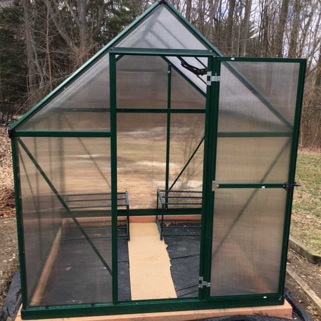 The shelves in back of our garden greenhouse are from the mini-greenhouse.