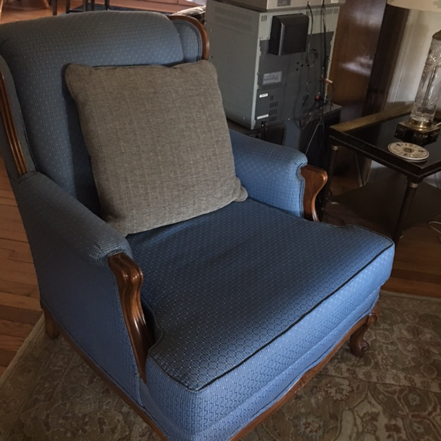 I like a substantial pillow in the 1950s vintage Bergere chairs in the living room because the seat is very roomy.
